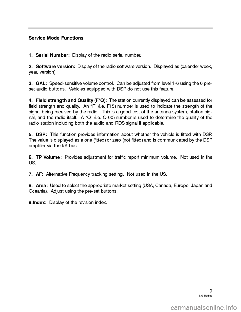 BMW 5 SERIES 2001 E39 New Generation Radios Manual, Page 9