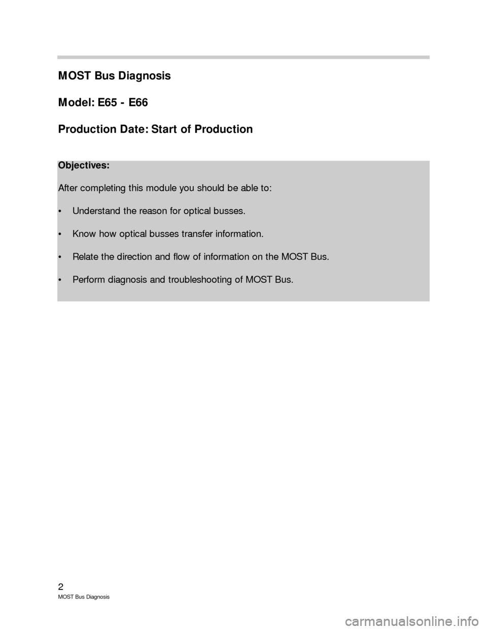 BMW 7 SERIES LONG 2005 E66 MOST Bus Diagnosis Workshop Manual, Page 2