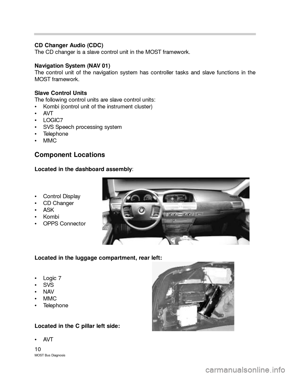 BMW 7 SERIES LONG 2005 E66 MOST Bus Diagnosis Workshop Manual, Page 10