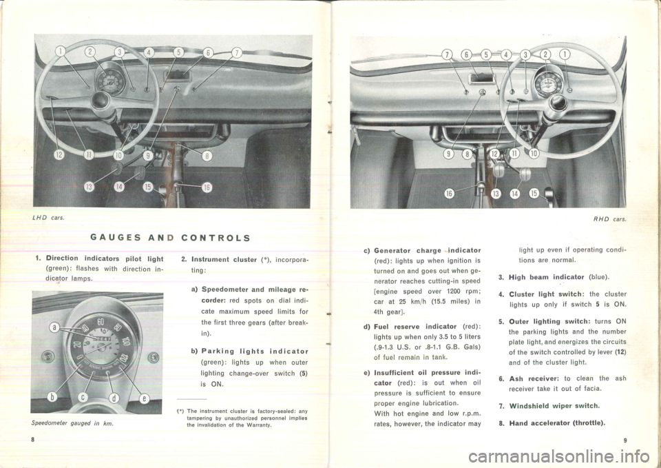 FIAT 500 1957 1.G Instruction Manual, Page 9