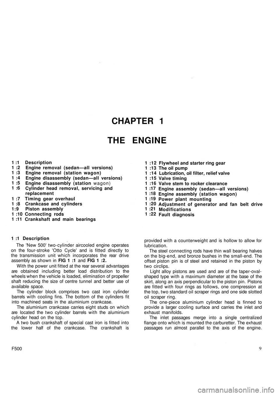 FIAT 500 1970 1.G Workshop Manual, Page 2