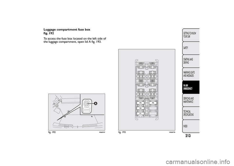 fiat bravo 2012 2 g owners manual, page 217  luggage compartment fuse box