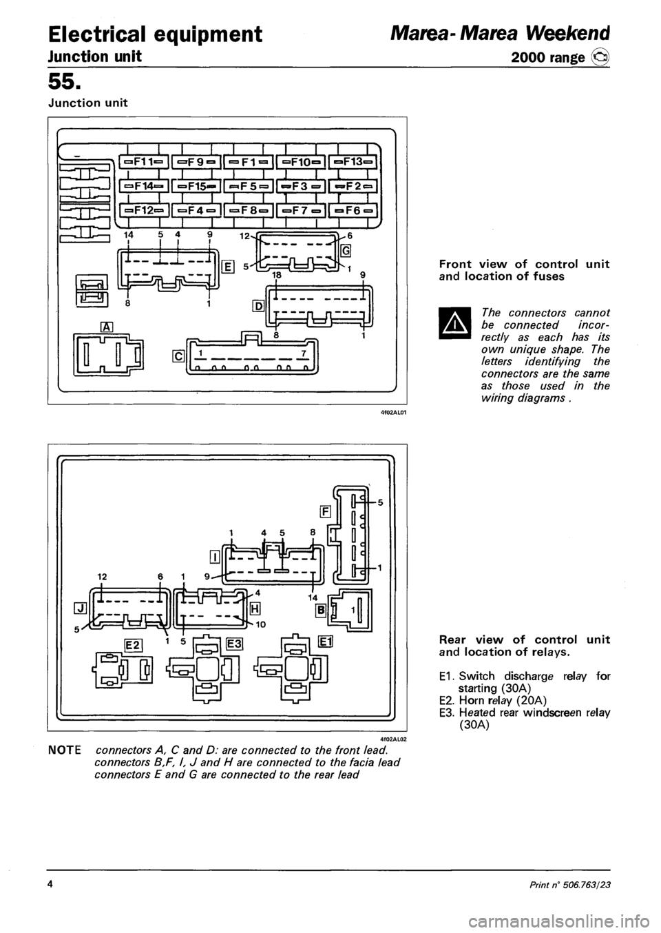 Fuses Fiat Marea 2000 1g Workshop Manual Fuse Box For Ulysse Page 134