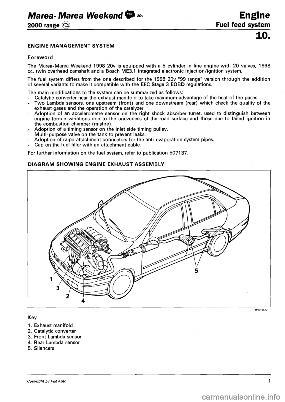 Fiat Marea 2001 1g Workshop Manual Fuel Pump Diagram