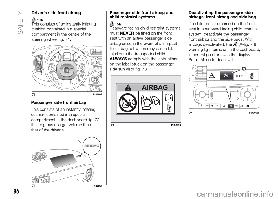 FIAT PANDA 2016 319 / 3.G Owners Manual, Page 88