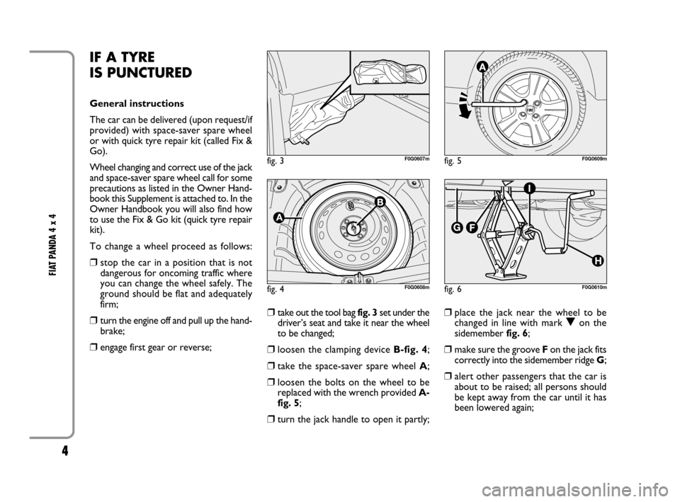 FIAT PANDA 2007 169 / 2.G 4x4 Supplement Manual, Page 5
