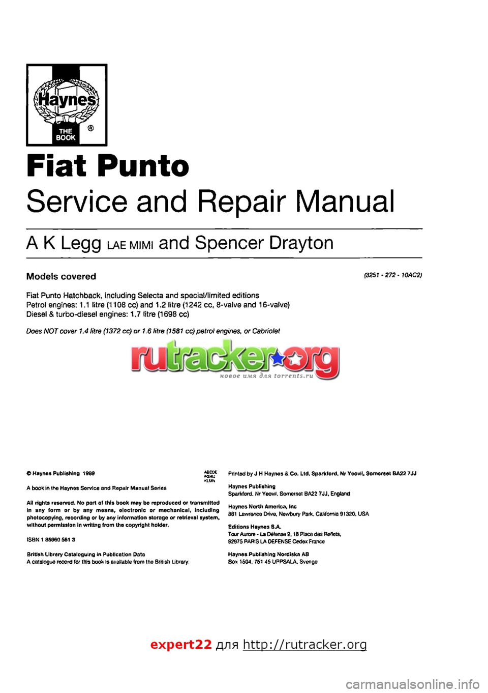 engine fiat punto 1997 176 / 1.g workshop manual