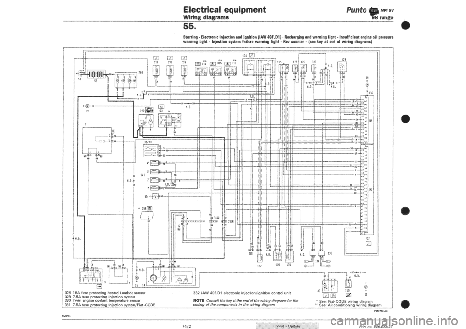 fiat punto 2004 wiring diagram fiat punto 1998 176 / 1.g wiring diagrams workshop manual fiat punto audio wiring diagram #9