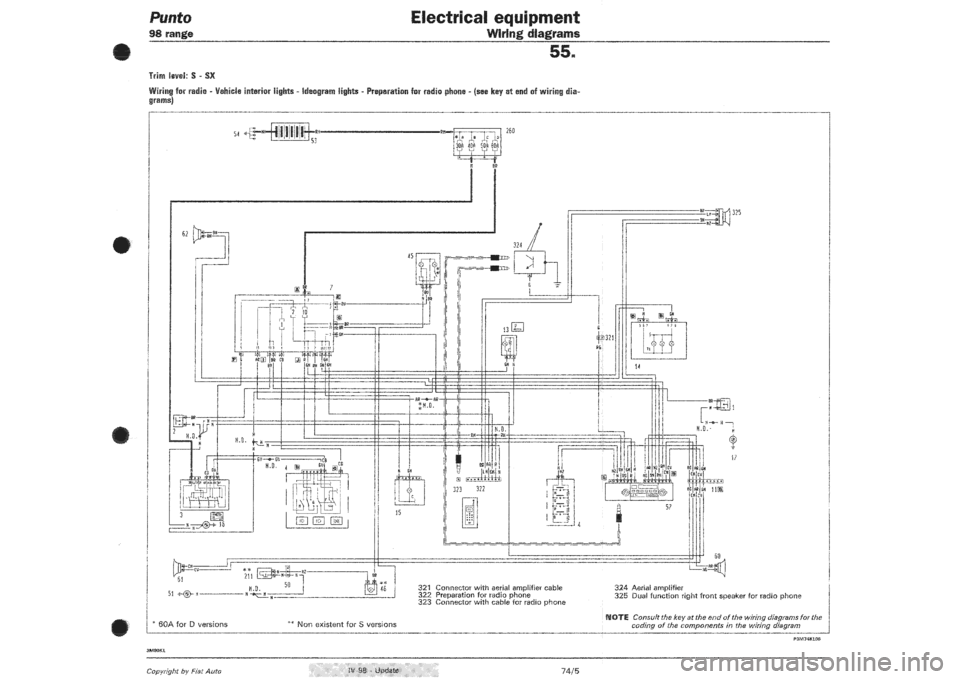 FIAT PUNTO 1998 176 1G Wiring Diagrams Workshop Manual