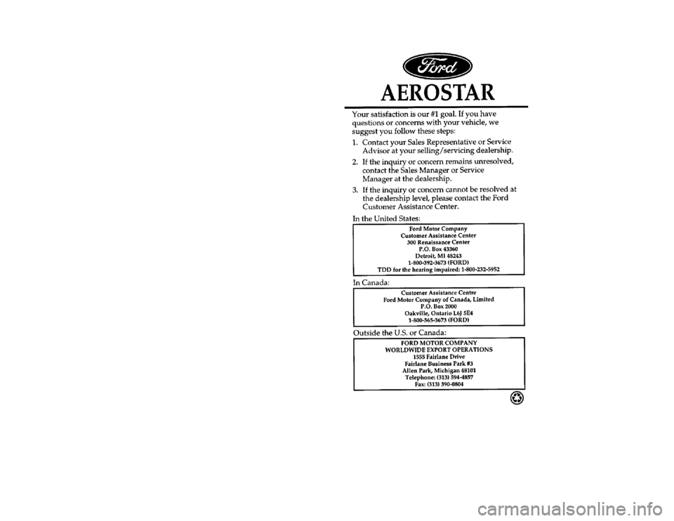 FORD AEROSTAR 1997 1.G Owners Manual, Page 1