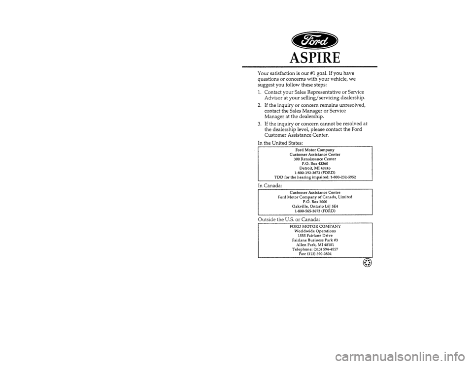 FORD ASPIRE 1996 1.G Owners Manual, Page 1