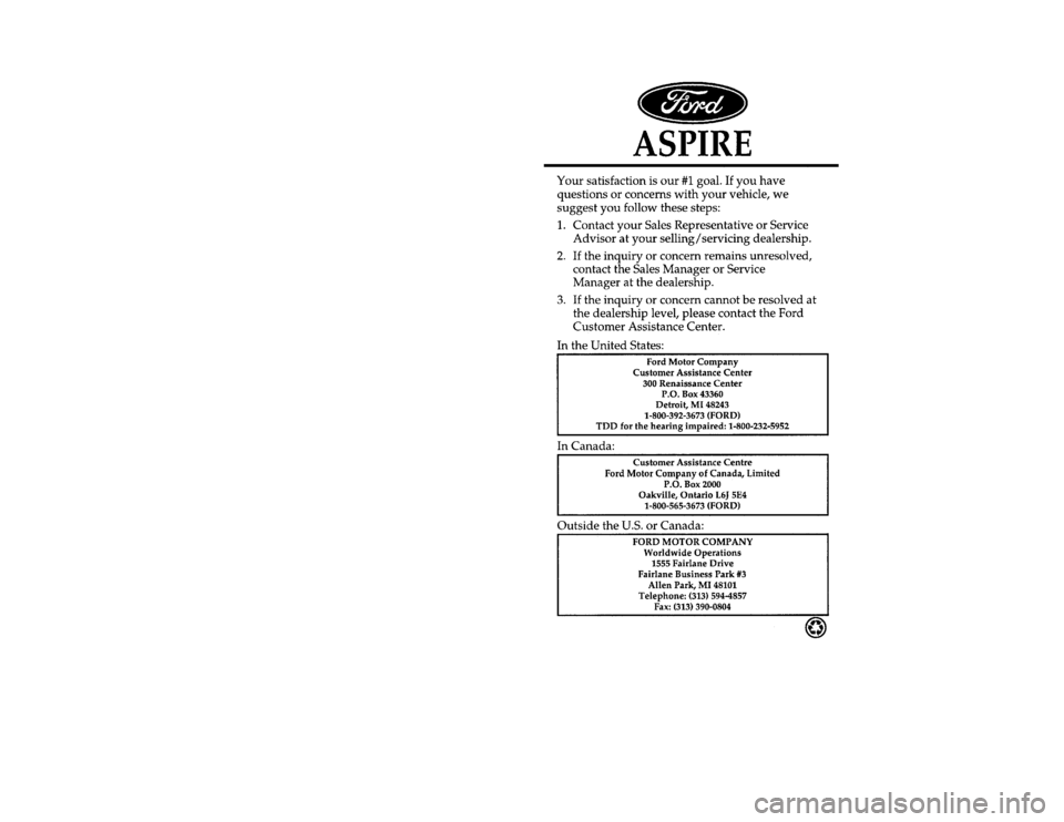 FORD ASPIRE 1997 1.G Owners Manual, Page 1