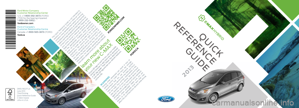 FORD C MAX HYBRID 2013 2.G Quick Reference Guide, Page 1