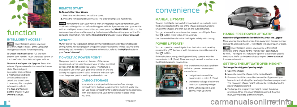 FORD C MAX HYBRID 2013 2.G Quick Reference Guide, Page 8