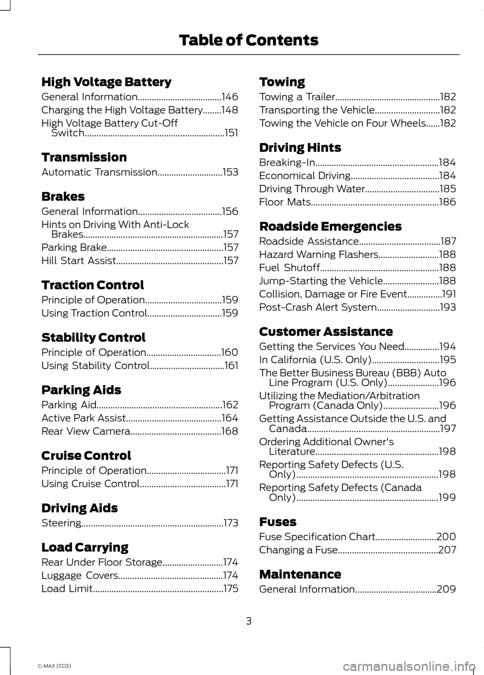 FORD C MAX HYBRID 2014 2.G Owners Manual, Page 5
