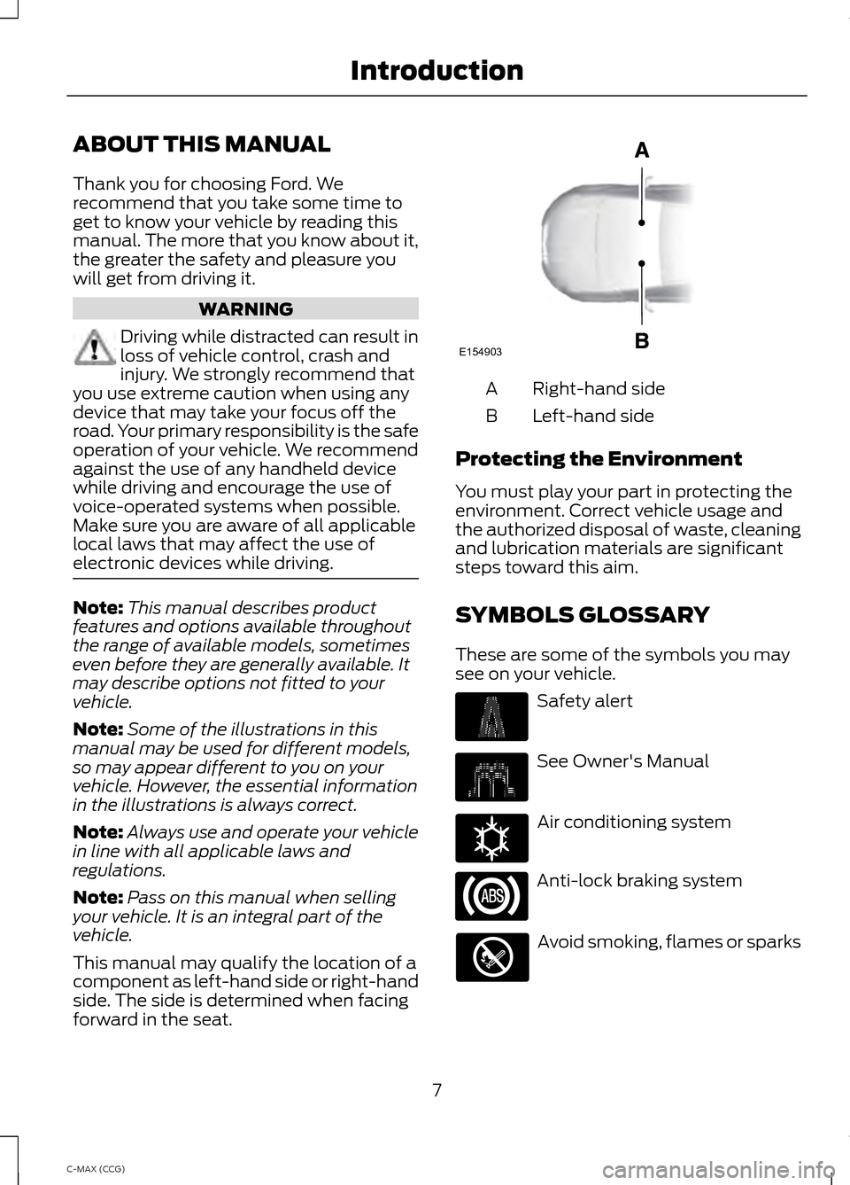 FORD C MAX HYBRID 2014 2.G Owners Manual, Page 9