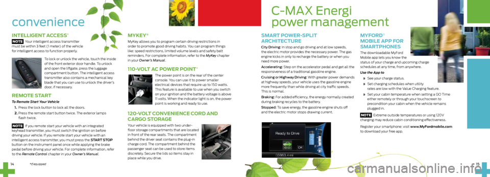 FORD C MAX HYBRID 2014 2.G Quick Reference Guide, Page 8
