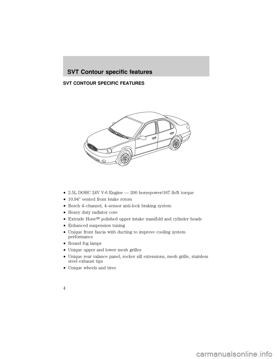 Ford Contour 2000 2g Svt Supplement Manual 2 0 Engine Diagram