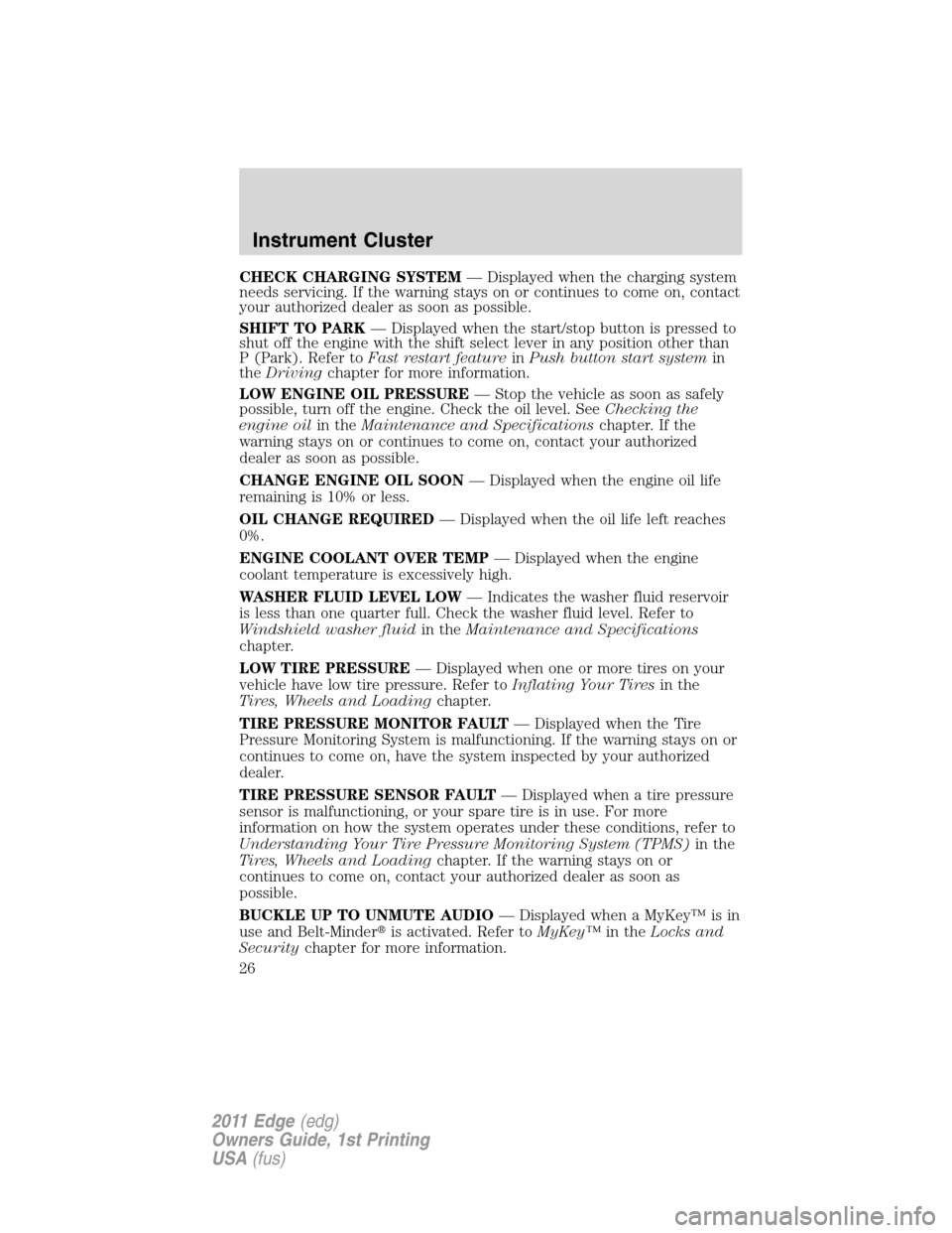FORD EDGE 2011 1.G Owners Manual, Page 26