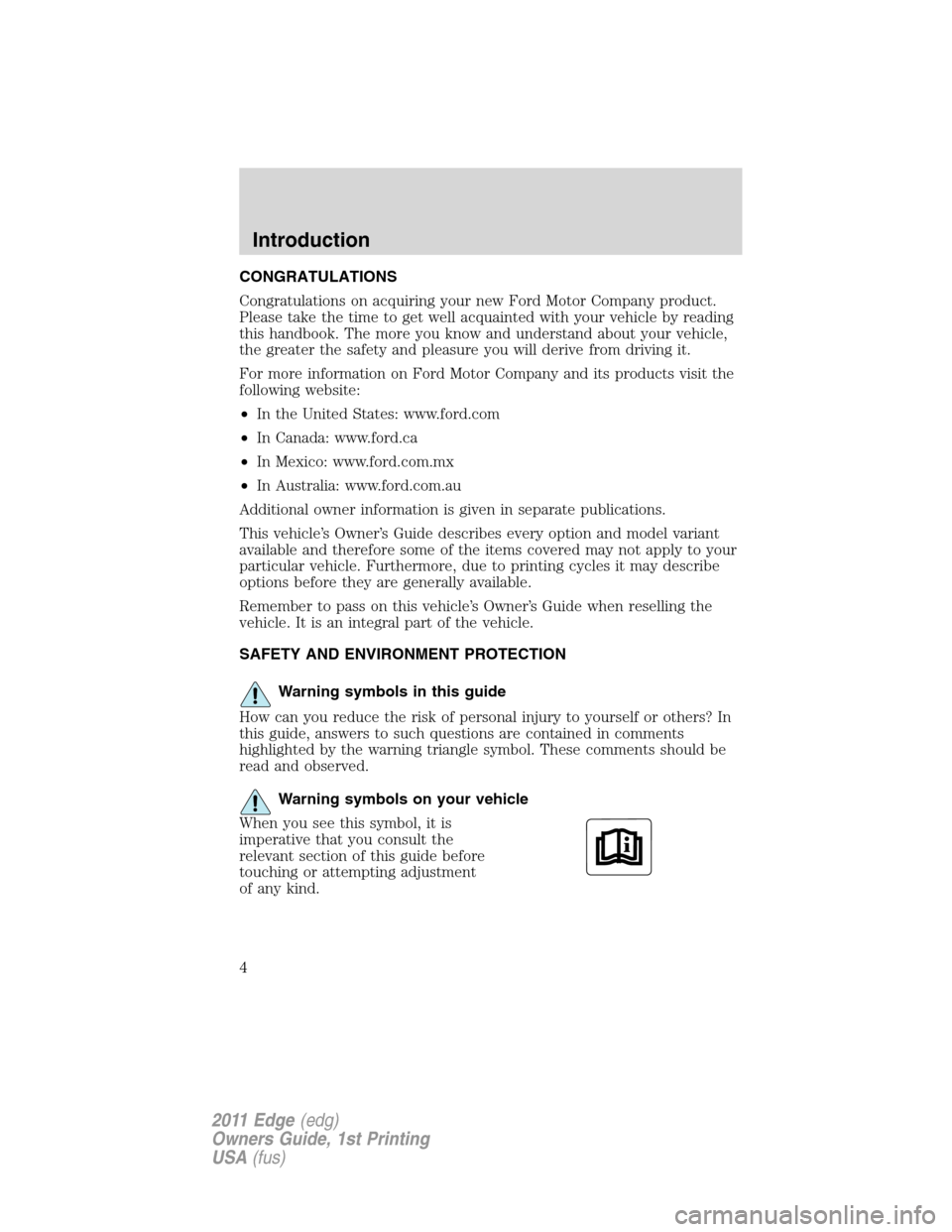 FORD EDGE 2011 1.G Owners Manual, Page 4