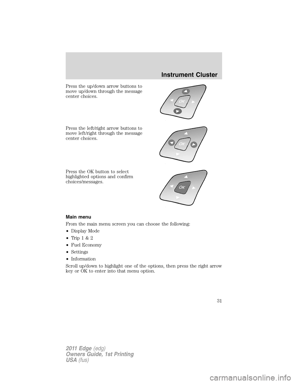 FORD EDGE 2011 1.G Owners Manual, Page 31