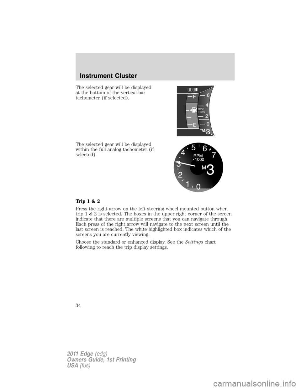 FORD EDGE 2011 1.G Owners Manual, Page 34