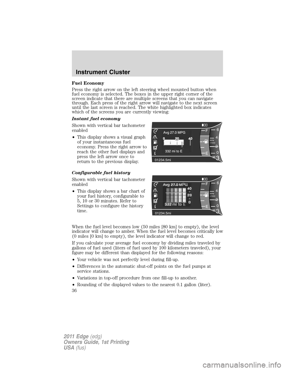 FORD EDGE 2011 1.G Owners Manual, Page 36