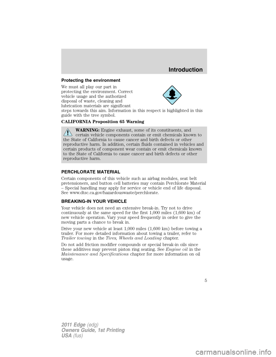 FORD EDGE 2011 1.G Owners Manual, Page 5