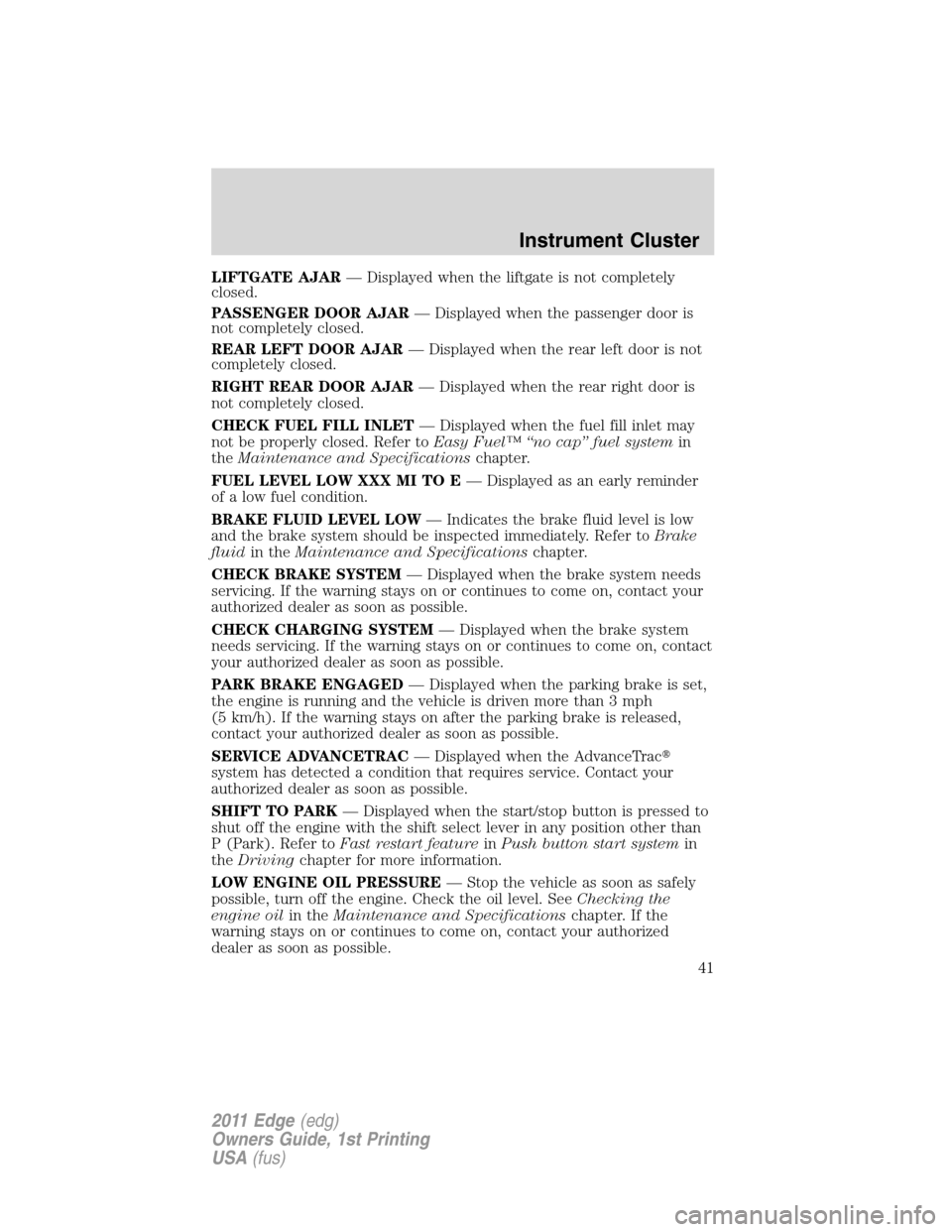 FORD EDGE 2011 1.G Owners Manual, Page 41