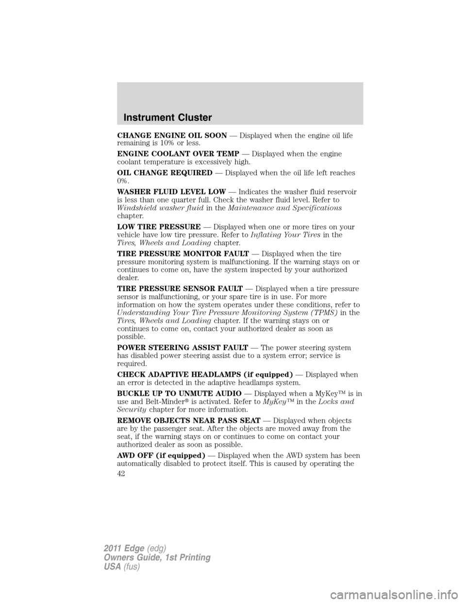 FORD EDGE 2011 1.G Owners Manual, Page 42