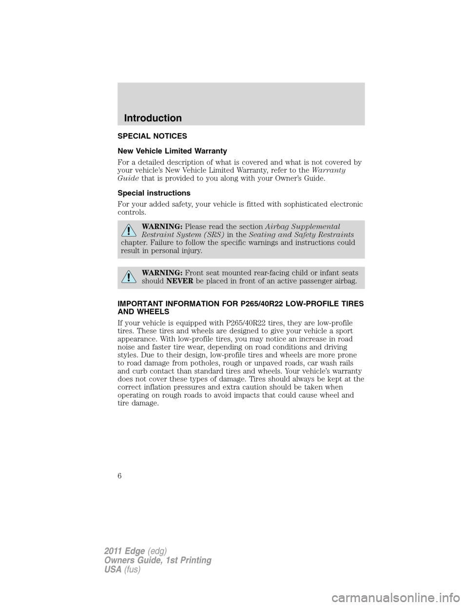 FORD EDGE 2011 1.G Owners Manual, Page 6
