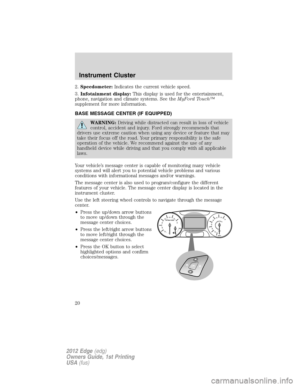 FORD EDGE 2012 1.G Owners Manual, Page 20
