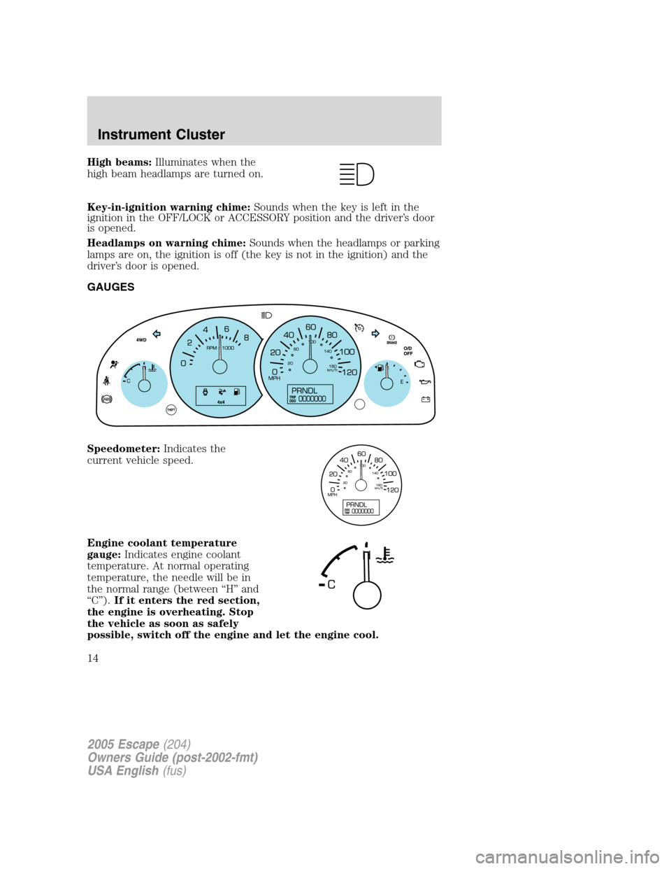 Ford escape 2005 1 g owners manual page 14