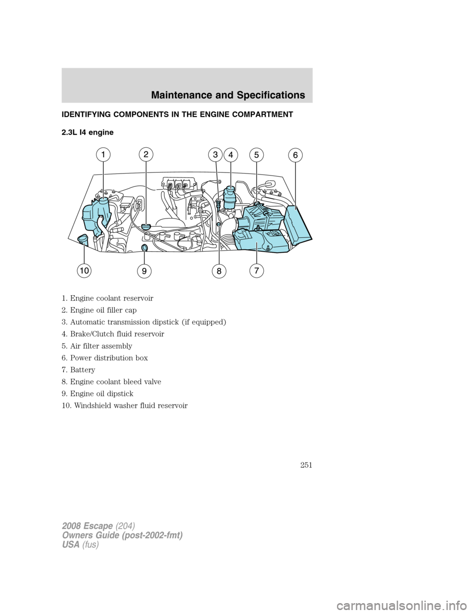 FORD ESCAPE 2008 2.G Owners Manual, Page 251