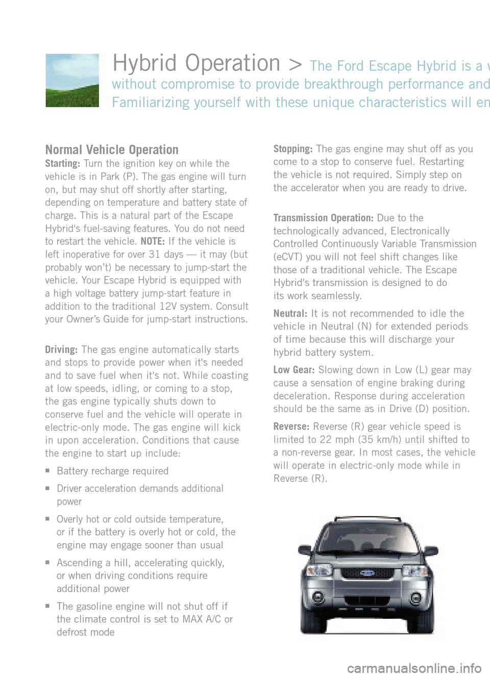 ford escape hybrid   quick reference guide