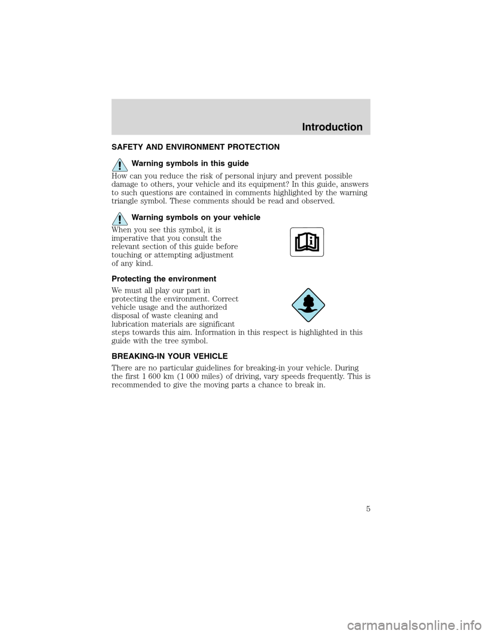 FORD EXCURSION 2004 1.G Owners Manual, Page 5