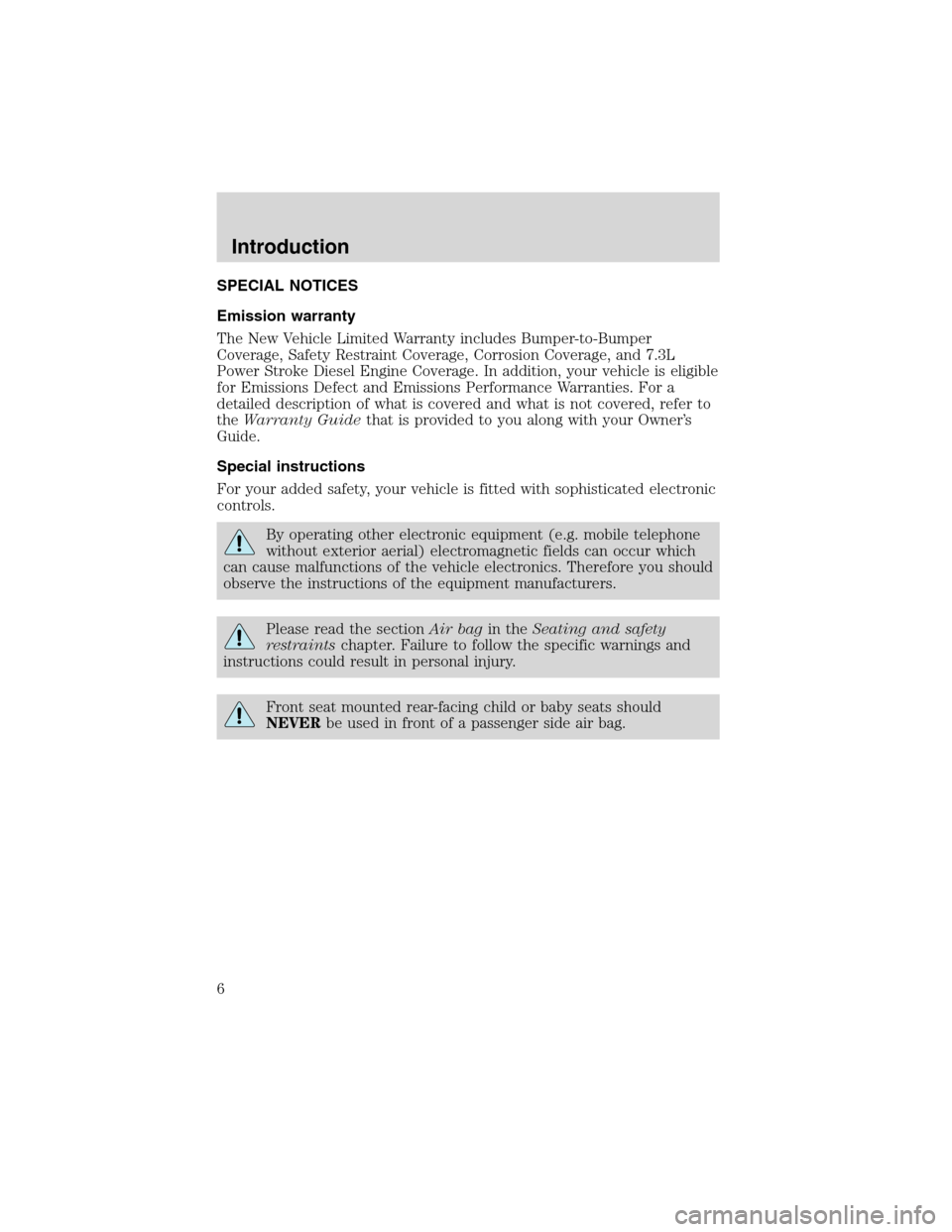 FORD EXCURSION 2004 1.G Owners Manual, Page 6