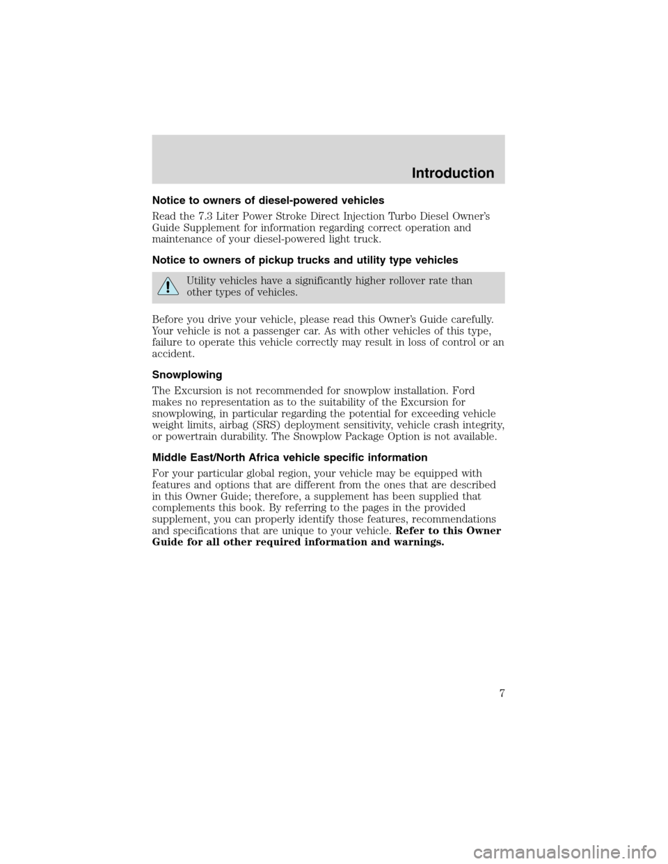 FORD EXCURSION 2004 1.G Owners Manual, Page 7