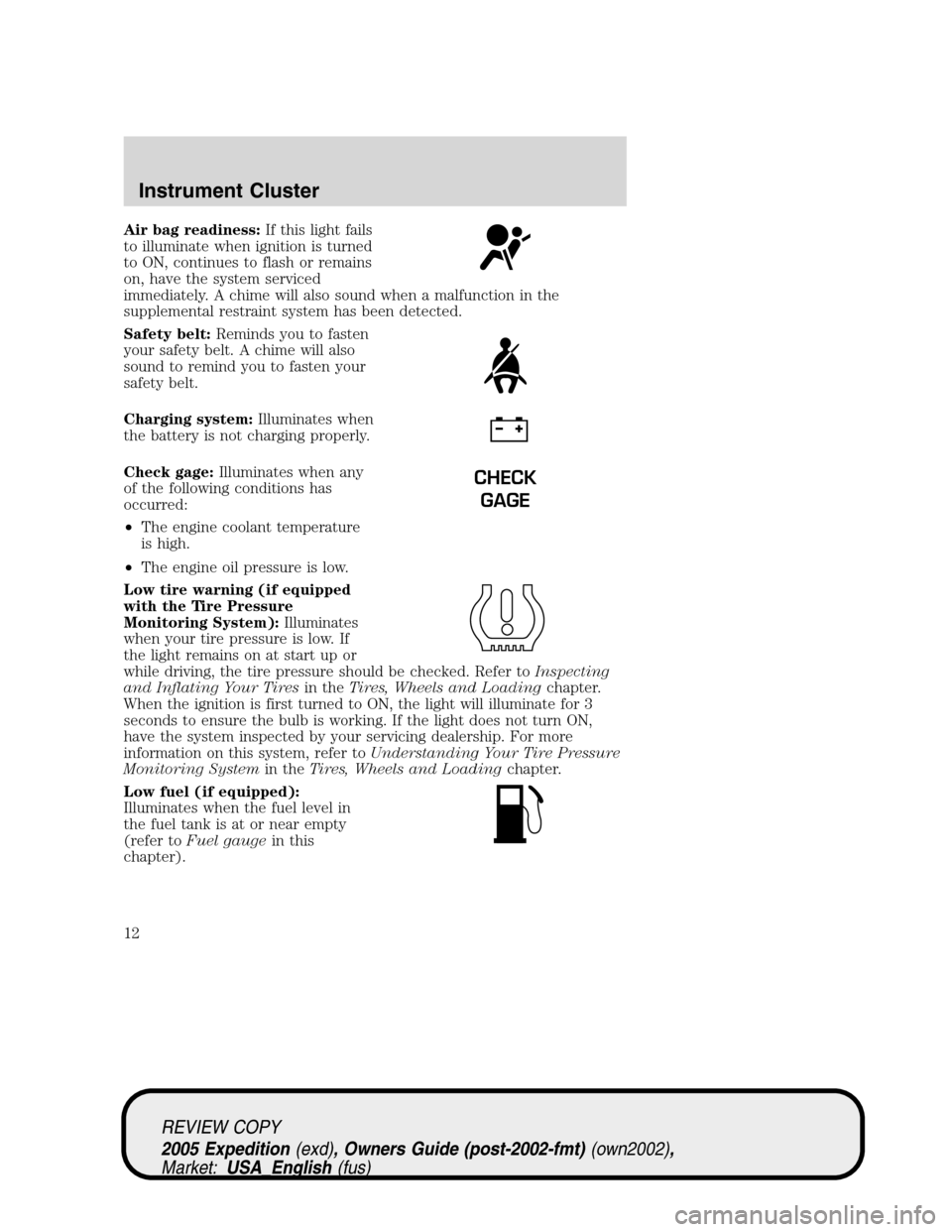 FORD EXPEDITION 2005 2.G Owners Manual, Page 12