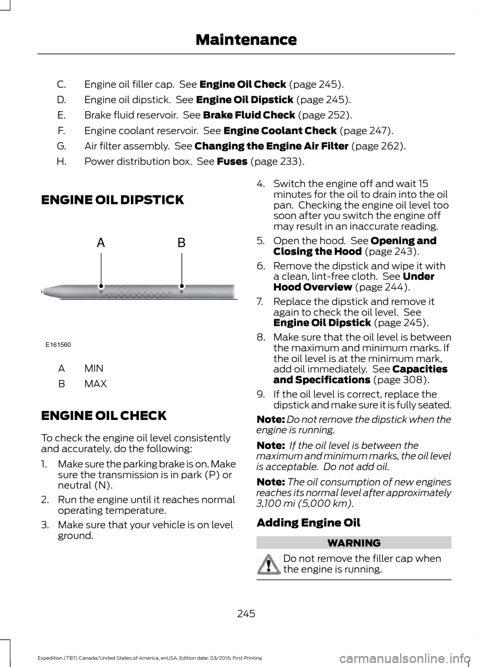 Oil Level Ford Expedition 2017 3g Owners Manual 1998 Fuse Diagram For Print Page 248