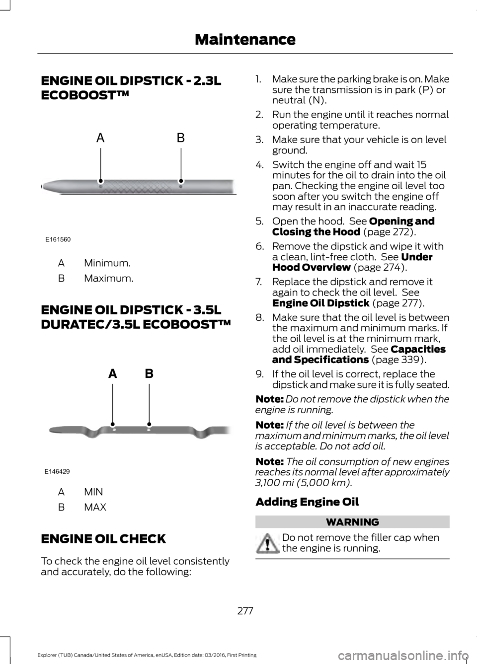 oil level ford explorer 2017 5 g owners manual
