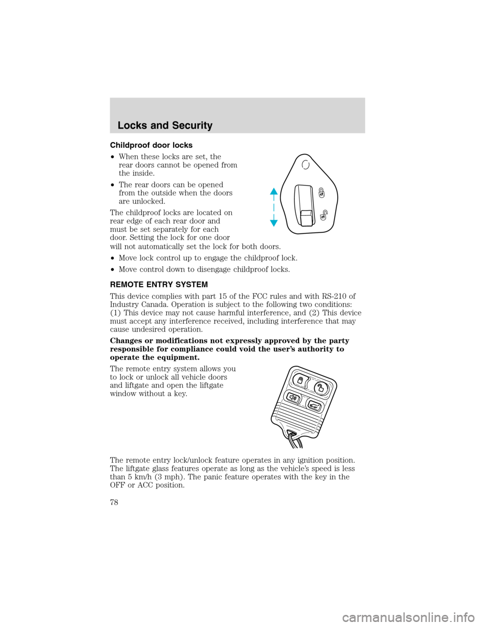 Ford Explorer 2003 3g Owners Manual Door Lock Schematic Page 78 Childproof Locks