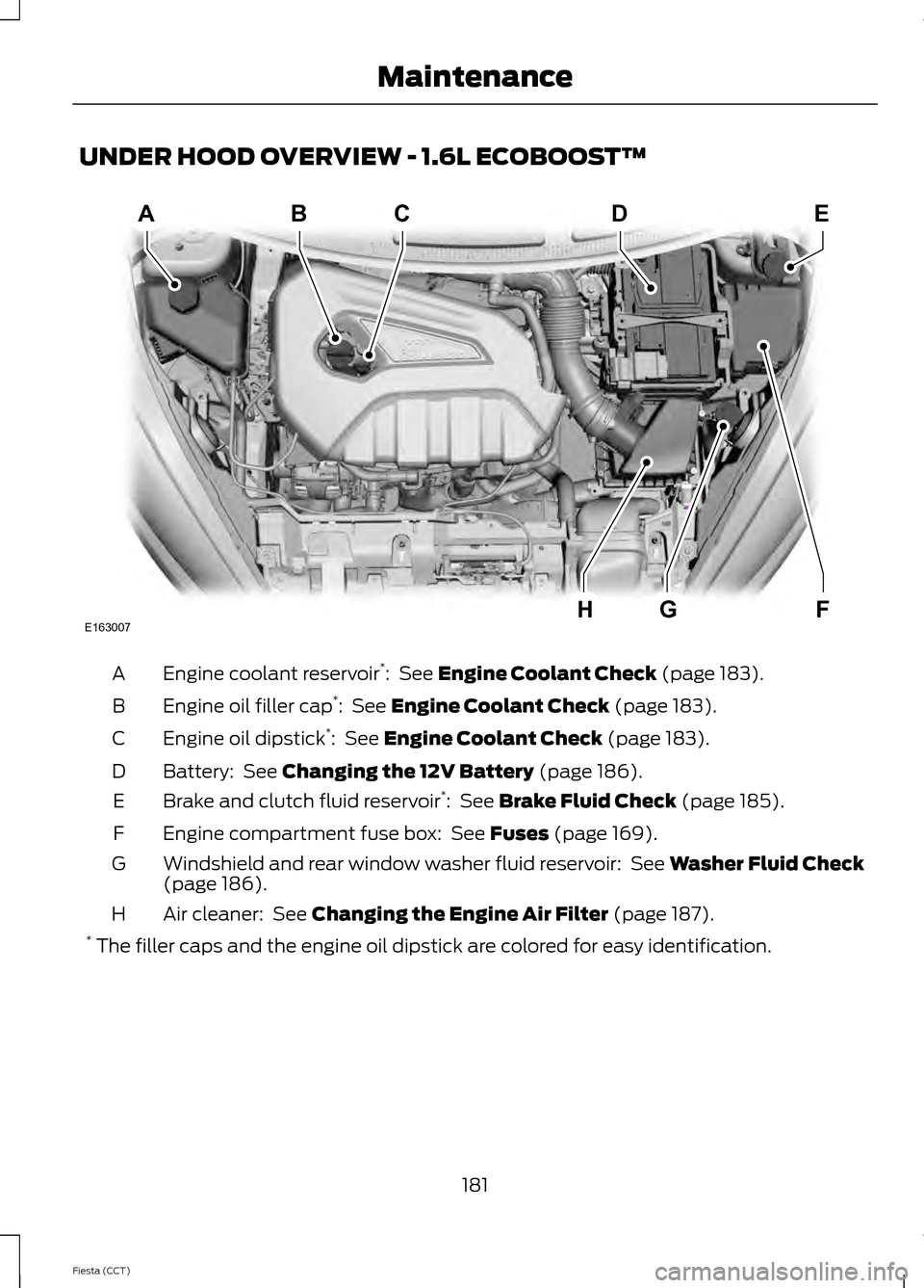 FORD FIESTA 2014 6.G Owners Manual, Page 184