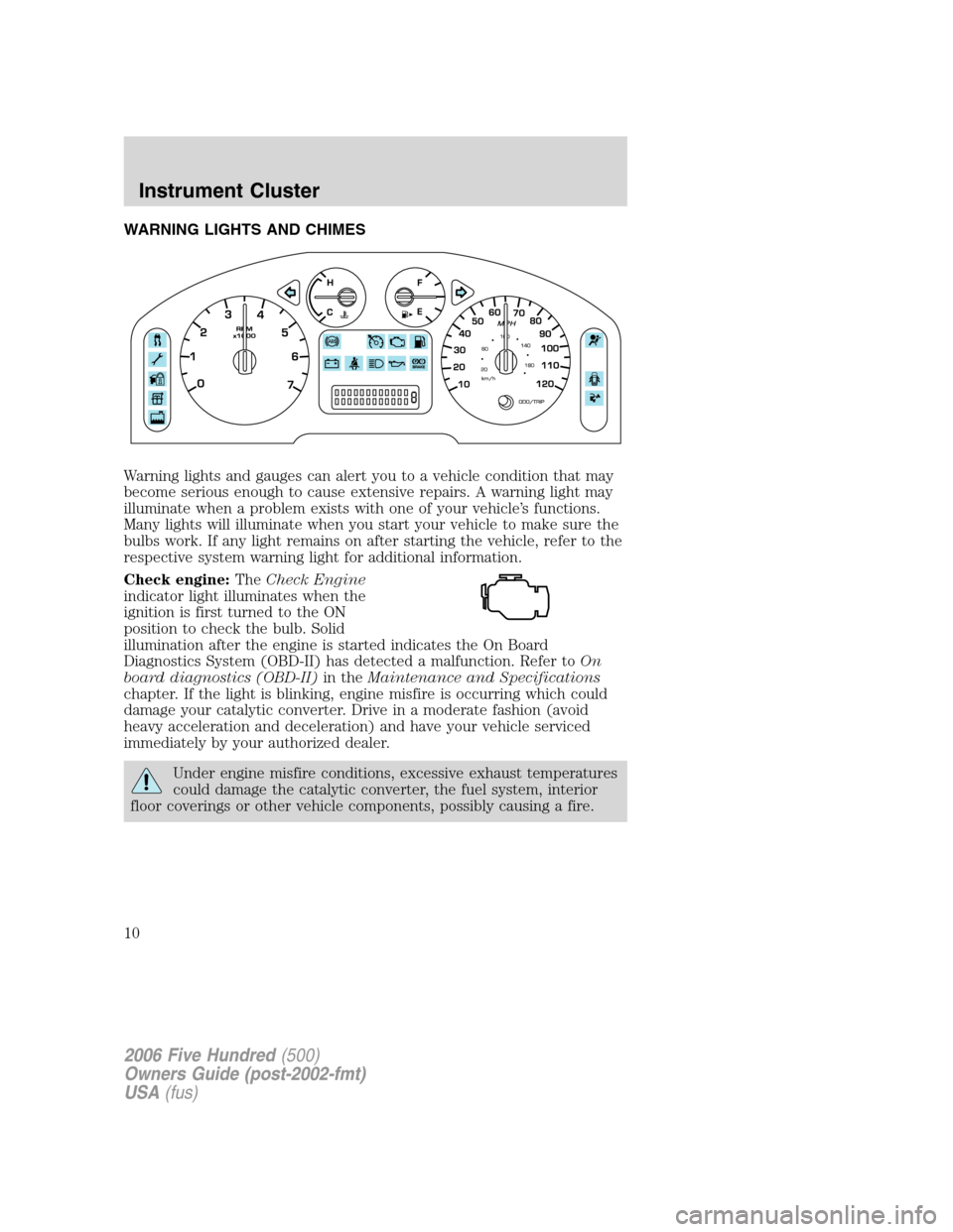 Ford five hundred 2006 d258 1g owners manual page 10 of 280 buycottarizona