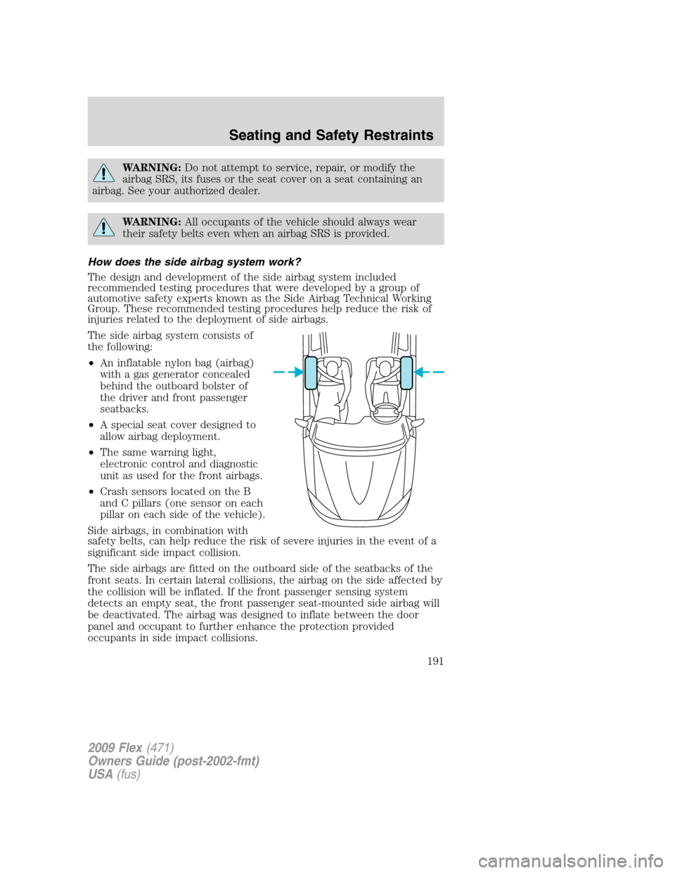 FORD FLEX 2009 1.G Owners Manual, Page 191