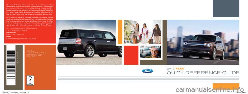 FORD FLEX 2013 1.G Quick Reference Guide, Page 1