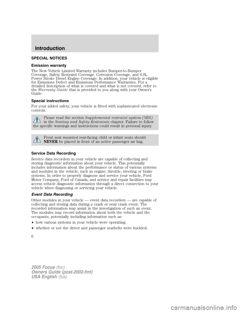2005 ford focus owners manual pdf