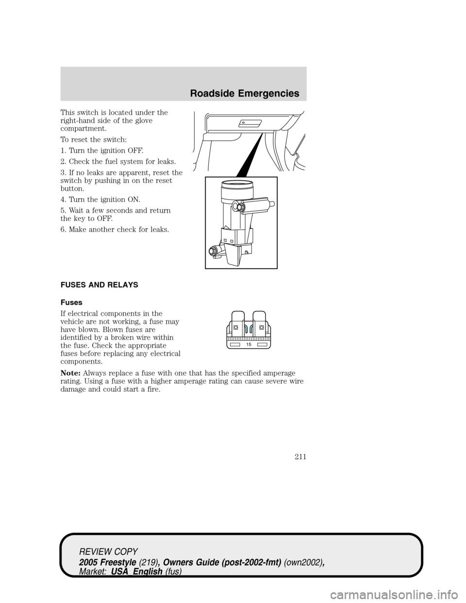 Ford Freestyle Fuse Diagram