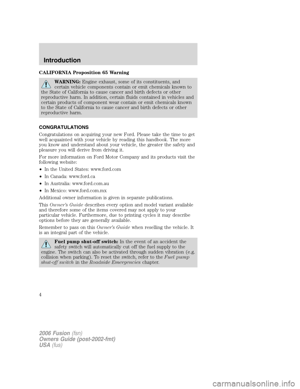 FORD FUSION (AMERICAS) 2006 1.G Owners Manual, Page 4