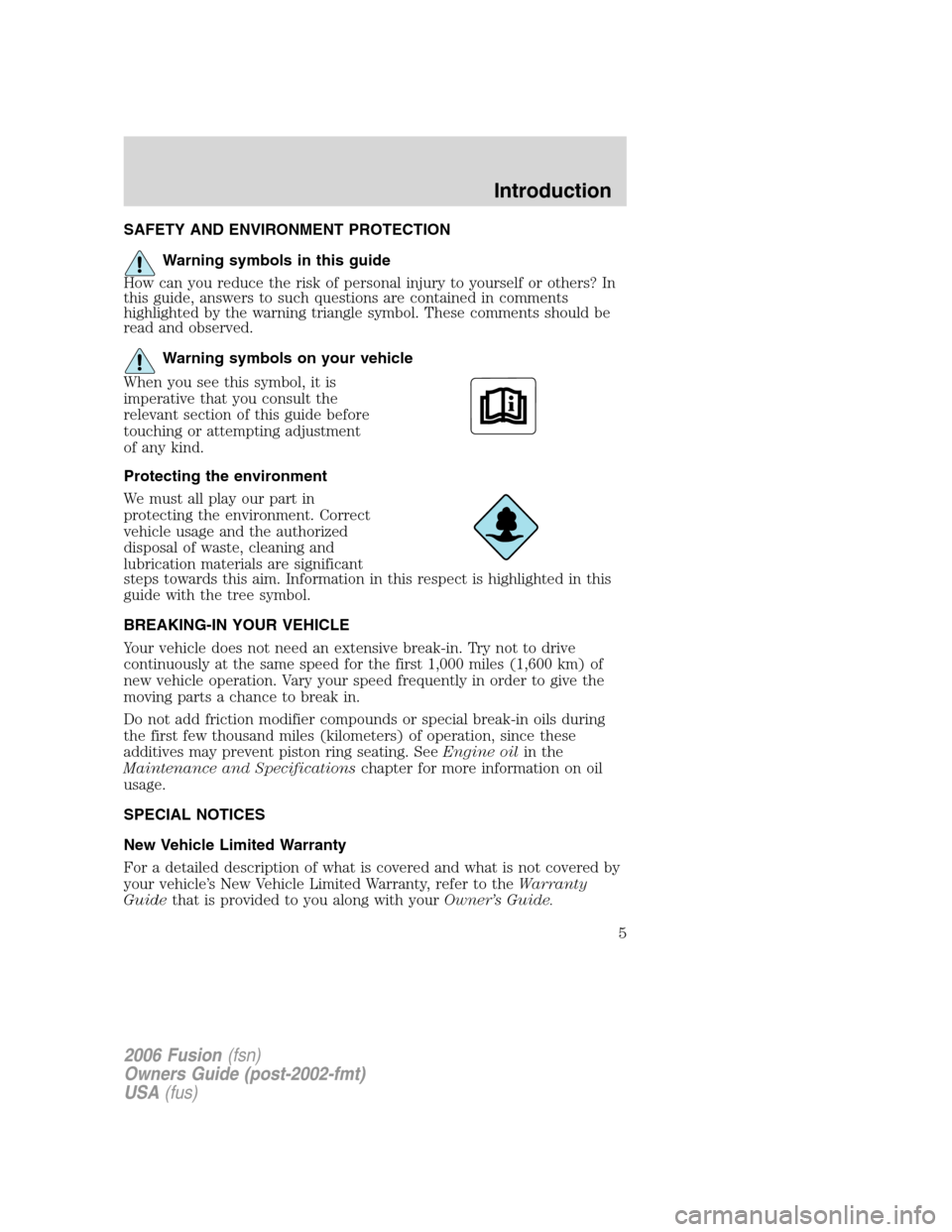 FORD FUSION (AMERICAS) 2006 1.G Owners Manual, Page 5